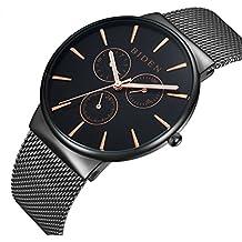 Reloj de hombre, relojes, acero inoxidable negro clásico lujo Business Casual relojes cuarzo impermeable multifunciones gdfb malla banda reloj de pulsera