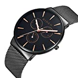 Watch,Mens Watches,Stainless Steel Black Classic Luxury Business Casual Watches Waterproof Multifunctions Quartz Milanese Mesh Band Wrist Watch