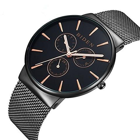 Armbanduhr, Herren Uhren, Edelstahl schwarz klassischen Luxus Business Casual Uhren wasserdicht multifunktional Quarz Milanaise Mesh Band Armbanduhr