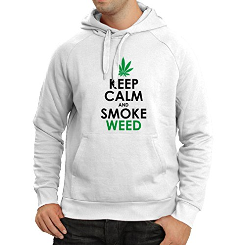 lepni.me Sudadera con capucha Mantener la calma y humo - hoja de marihuana (XXX-Large Blanco Negro)