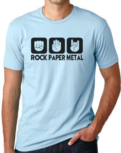 OM3 - ROCK PAPER METAL - T-Shirt STEIN PAPIER SCHERE HARDROCK HEAVY, S - 5XL Hellblau