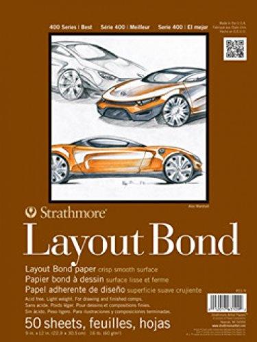 Strathmore 411-11 400 Series Layout-Bond-Pad, 27,9 x 35,6 cm, mit Klebeband, 50 Blatt -