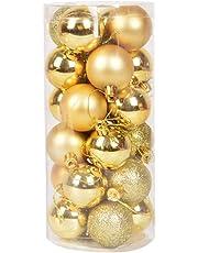 FizzyTech 24pcs 3CM Golden Christmas Tree Baubles Balls Decor Ornament Xmas Party Decorations (Gold)