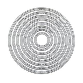 Templom SIX Stanzschablonen Metall geometrische Muster Grußkarte Blumenverzierung Form für DIY Scrapbooking Album Papier Karten Sammelalbum Deko Silber (Runde)