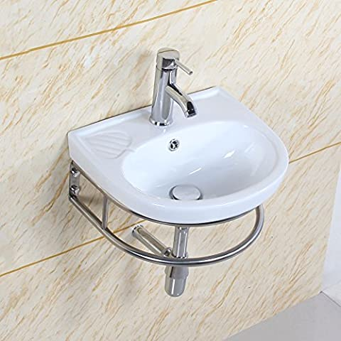 GaGa Wall Mount Oval Shaped Bowl Set in the D Square Ceramic Basin Sink Vessel Porcelain Vanity Bathroom Kitchen Cloakroom With Stainless Steel Stand Fitting Towel