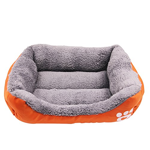 Luck Dawn Pet Bett für Hunde & Katzen Pfoten Druck Weich Pet Selbst Erwärmung Warm Korb Bett Matte mit Fleece Futter, Large, Orange Ld-liner
