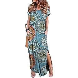 Vestidos Mujer Casual Playa Largos Verano Floral Vestido Boho Hendidura Falda Larga Maxi Vestido Playeros Bluefloral M