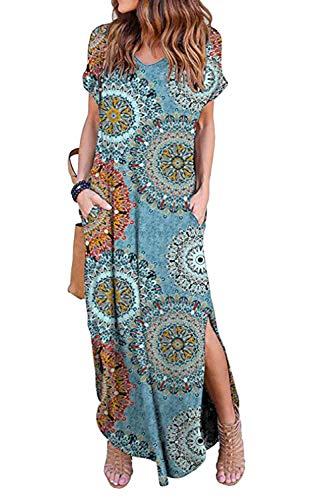 Zilcremo Damen Strandkleid Bohemian Lang Kleid Sommerkleid Kurze Ärmel Boho Floral Kleider Maxikleid Blaufloral M