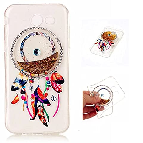 Samsung Galaxy J3 (2017) Case Cover MUTOUREN TPU Silicone Anti-scratch Rear Case Mobile phone protective cover Liquid Cover Stylish 3D Creative Red Dreamcatcher Design Quicksand Glitter Clear Crystal Gel Rubber Bumper Protective shockproof non-slip shell-quicksand dreamcatcher
