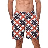 VECDY Herren Badehose, Hawaiian Plaid-Druck Trunks Quick Dry Strand Surfen Laufen Schwimmen Kurze Hose Wassershort Tunnelzug & Taschen für Surfen VECDY