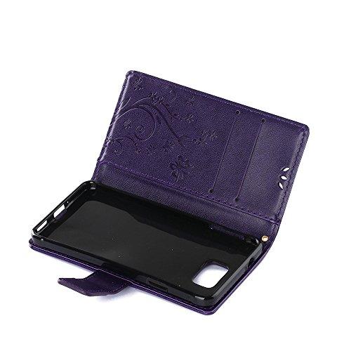 Samsung Galaxy Alpha G850 Hülle, Samsung Galaxy Alpha G850 Schutzhülle, Alfort 3 in 1 Lederhülle Fashion Design Premium PU Leder Hohe Qualität Tasche Case Cover Kasten Abdeckung Wallet für Samsung Gal Dunkles Violet
