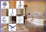 6x Fliesenaufkleber Aufkleber Leuchtturm Anker Meer Maritim See Robbe Möwe Segelschiff Farb+Motivwahl ca 10cm in 33 Farben matt oder glänzend