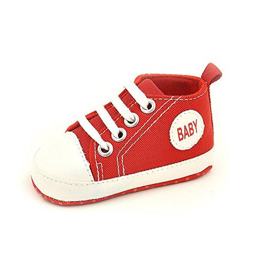 QZBAOSHU Säuglingskleinkind Erste Wanderer Schuhe Weiche Untere Segeltuch-Schuhe für Baby-Mädchen-Baby-Jungen (13: Fit für 6-12 Monate Baby, Rot) (Natürliche Segeltuch-schuhe)