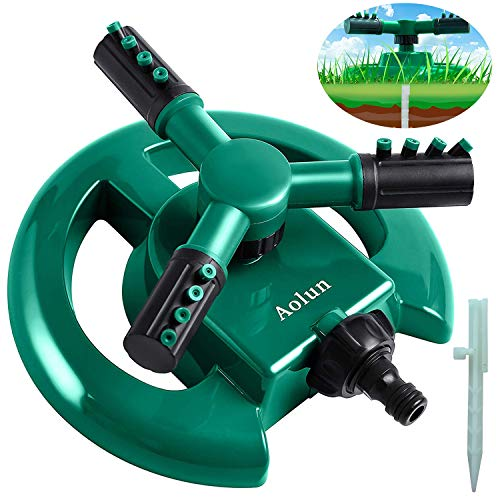 Aolun R108 Garden Sprinkler- Automatic Lawn Water Sprinkler 360 Degree 3- Arm Rotating Sprinkler System