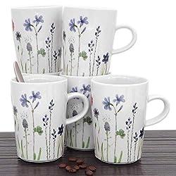Kahla 39E103A50001C Wildblume blau Becherset Bunte Kaffeebecher für 6 Personen 350 ml Henkelbecher Porzellanbecher Set 6-teilig Tee Kakao Tassenset