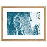 Chambon Elephant Close-up Trunk Blue Framed Wall Art Print Elefante Blu Parete
