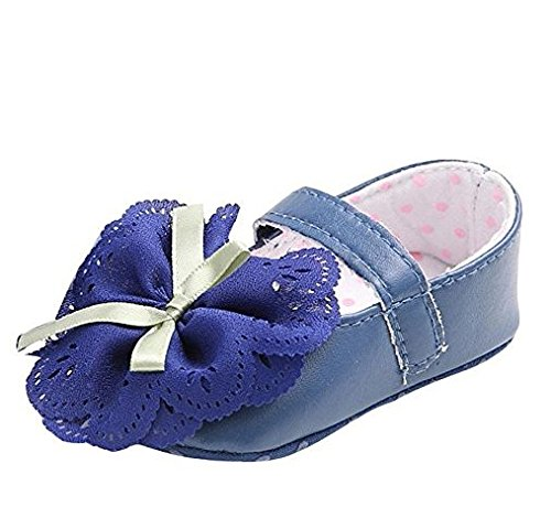 Auxma Babyschuhe Mädchen Prinzessin Spitze Blume für 0-18 Monate (12-18 M, Blau) Blau