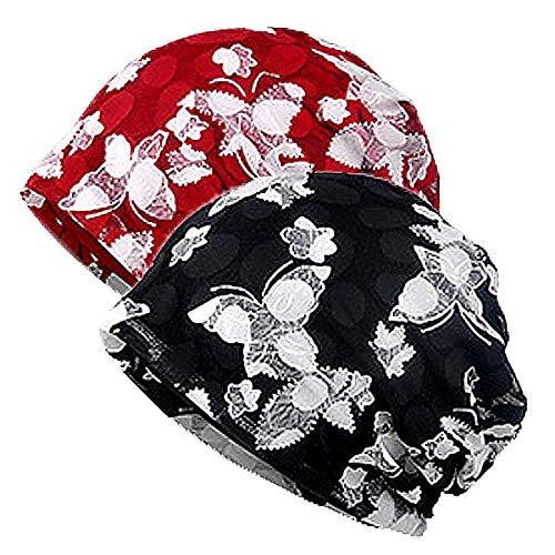 WELROG Chemo Hut Frau Hut Spitzen Kopftuch Super Weich Slouchy Turban Kopfbedeckungen Kopf Wraps(Weinrot/Schwarz)