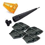 Maxi Foot Stützplatten Set - 4 Stück - zur Sicherung der Kurbelstütze inkl Akkuschrauberaufsatz und Kreuz Wasserwaage für Wohnmobil oder Wohnwagen