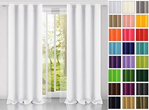 modern Vorhang (Weiß 1) Schal mit Ösen 140x250 CM lichtundurchlässig Gardine, Ösenvorhang Ösenschal für Kinderzimmer, Jugendzimmer, Schlafzimmer, Küche in 40 FARBEN!