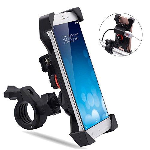 7d017bd6159 TR Turn Raise Giratorio Montaje de Motocicleta Moto Soporte para Teléfono  Celular con Impermeable 2.1A