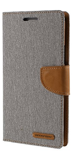 Delkart Plastic Canvas Book Style Flip Cover with In-Built Card and Cash Holder for Samsung Galaxy Grand 2 (Grey)