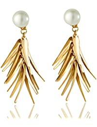 Spargz Gold Plated With Pearl Leaf Cluster Dangle Earrings For Women AIER 806