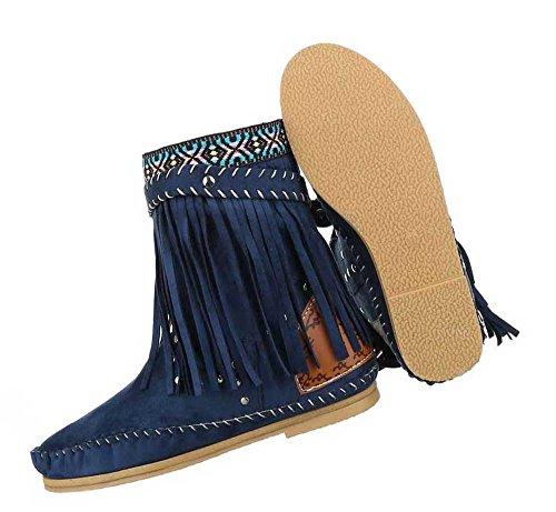 Damen Stiefeletten Schuhe Boots Designer Schlüpfstiefel Mit Fransen Und Nieten Schwarz Modell 1 Blau