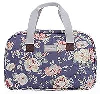 Oilcloth Holiday Travel Weekender Tote Bag Handbag Floral Owl Stripe Print (Large, Jeans Floral)
