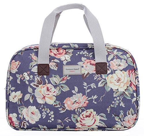 Borsa in tela cerata, da viaggio/vacanza, fantasie varie stampate (fiori, civette, a righe) Jeans Floral