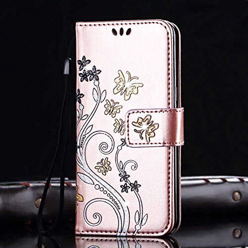Samsung Galaxy Note 4 Hülle, PU Leder Flip Hülle 3D Reliefprägung Butterfly Bling Schutzhülle mit Handschlaufe Ständer Voller Schutz - Rose Gold ()