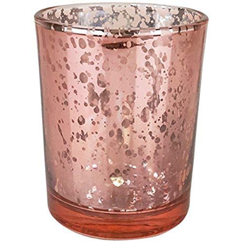 TianranRT Quecksilber Glas Votiv Teelicht Kerze Halter für Hochzeiten Partys und Home Dekor (Roségold)