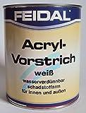 Feidal Acryl Vorstrichfarbe Weiss, wasserverdünnbar, für Innen und Außen / 750 ml