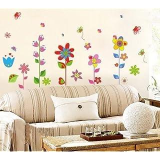 Wandtattoo Wandaufkleber Blumen und Schmetterlinge-Premium-Wand-Sticker PVC Kinderzimmer + Kostenlose Blumen Sticker