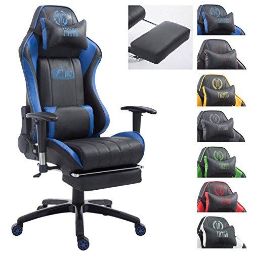 CLP XL Racing Bürostuhl Shift X2 mit Kunstlederbezug l Höhenverstellbarer Drehstuhl mit und ohne Fußstütze l Gamingstuhl mit Laufrollen schwarz/blau, mit Fußablage