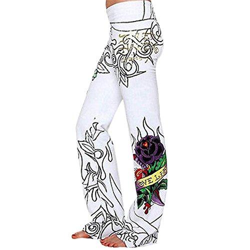 wlgreatsp Da donna Skull Rose Digital Printing Pantaloni a gamba larga White