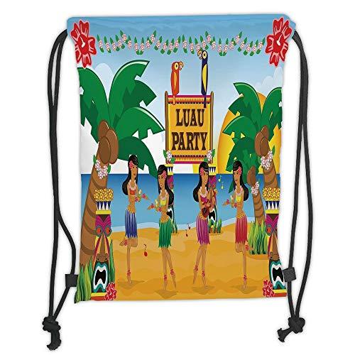 string Backpacks Bags,Tiki Bar Decor,Hawaiian Luau Party in Cartoon Style Dancers on Beach Festive Tradition Decorative,Multicolor Soft Satin,5 Liter Capacity,Adjustable String ()