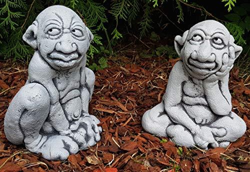 HQ-Beton Manufaktur 2-Set lustige Gartenfiguren GNOME frostfest Deko für außen Garten Terrassen Balkon Hochbeete Blumenkasten Steinfiguren