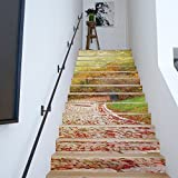 HONGLI13 Treppen Aufkleber Herbst Laub Stein Stra?e Landschaft Aufkleber Wandaufkleber wasserdicht selbstklebend