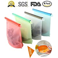 Reusable Silicone Food Storage Bag - Clear Reusable Food Grade Silicone, Eco Friendly and BPA Free Great for hot cooking WIth Silicone Bowl Covers (5 pack)