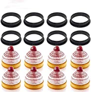 8PCS Cake Mold Perforated Cutter Round-Shape Mousse Circle Ring Tart Decorating(black)