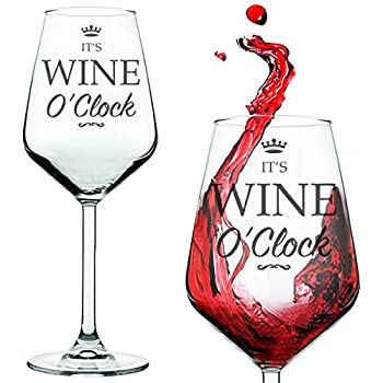 itu0027s wine ou0027clock red white funny wine glass presented in a gift tube