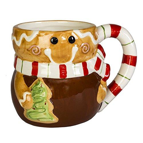Gingerbread Man Holiday character 12 oz. Ceramica dolomite Christmas Coffee mug -