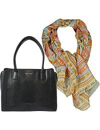 7a7cbd61d9e383 Damen- Henkel- Tasche, Geräumige Handtasche in Krokodilleder-Optik,  Geschenk- Set mit Damen- Schal, Halstuch frisch und farbenfroh mit…
