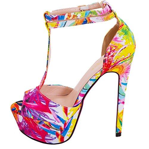Toocool - Scarpe donna plateau sandali floreali tacchi alti T-bar cinturini nuove SQ1639 Bianco