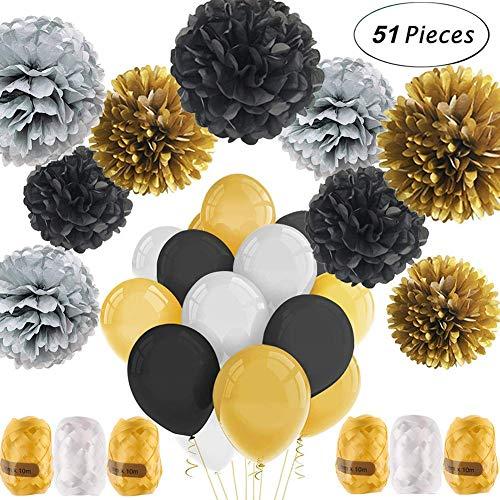 Deko-Set mit 51 Teilen | schwarz, gold, silber