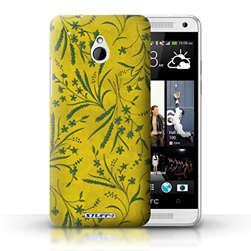 Kobalt® Imprimé Etui / Coque pour HTC One/1 Mini / Orange/Vert conception / Série Motif floral blé Jaune/Vert