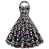 Younthone Retro Chic ärmellos 1950er Damen Neckholder Kleid Vintage RockabillyFestliches Kleid Petticoat Kleid Swing Kleid Cocktailkleid (XXL,Schwarz)