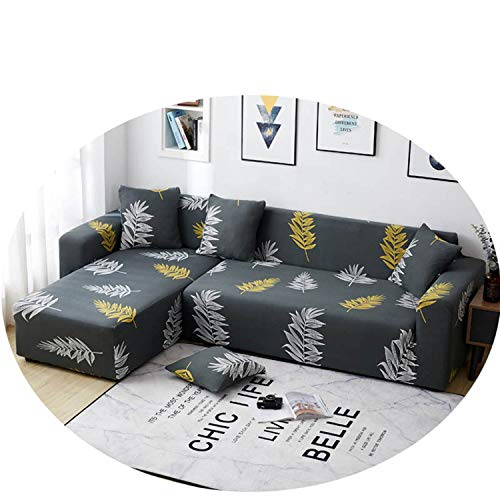 2Pcs Plant Print Sofa Cover Couch Furniture Cover Sofa Tight Wrap Slip-Resistant for Living Room Elastic L Shape Armchair E 145-185cm 235-300cm