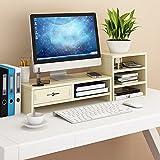 NACHEN Computermonitor Regal Stand Office Desktop Base Stand Desktop Storage Racks Mit Schublade,Color3,75.6 * 20 * 23.1Cm